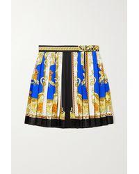 Versace Pleated Printed Silk-twill Mini Skirt - Blue