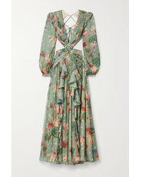 PATBO Sophia Cutout Embellished Ruffled Floral-print Chiffon Maxi Dress - Green