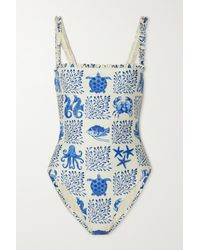 Agua by Agua Bendita Limón Ruffled Bead-embellished Embroidered Printed Swimsuit - Blue