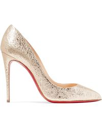 Christian Louboutin - Pigalle Follies 100 Metallic Crinkled-leather Pumps - Lyst
