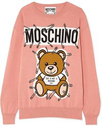 Moschino - Teddy Intarsia Cotton Jumper - Lyst