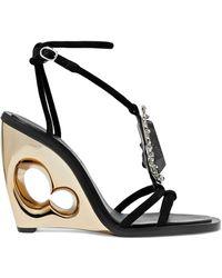 Alexander McQueen - Embellished Suede Wedge Sandals - Lyst