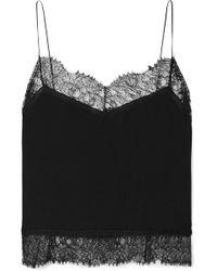 Saint Laurent - Lace-trimmed Silk-georgette Camisole - Lyst