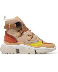 Chloé Sonnie High-top-sneakers Aus Canvas, Mesh, Veloursleder Und Leder - Natur