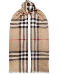 Burberry Frayed Checked Wool And Silk-blend Scarf - Natural
