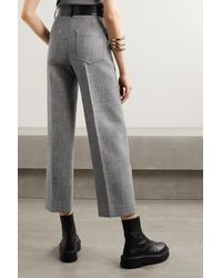 Peter Do Fireman Cropped Leather-trimmed Tweed Straight-leg Pants - Grey