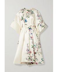 Monique Lhuillier Belted Floral-print Duchesse-satin Coat - White