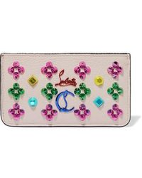 Christian Louboutin Credilou Spiked Textured-leather Wallet - White