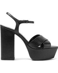 Saint Laurent Knot Detail 145mm Platform Sandals - Black