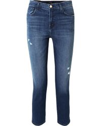 J Brand - Ruby Cropped Distressed High-rise Slim-leg Jeans - Lyst