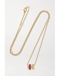 Boucheron Quatre Red Edition 18-karat Yellow, White And Rose Gold, Ceramic And Diamond Necklace - Metallic