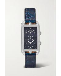 Hermès Montre En Acier Inoxydable Et Diamants À Bracelet En Alligator Nantucket Dual Time Large, 22 Mm - Bleu