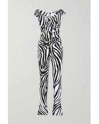 Halpern Combi-pantalon Épaules Nues En Satin À Imprimé Zèbre - Noir