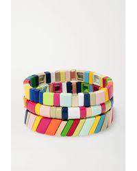 Roxanne Assoulin Fruit Stripe Set Aus Drei Armbändern Mit Emaille Und Vergoldeten Details - Rot