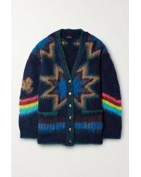 Etro Oversized Brushed Intarsia-knit Cardigan - Blue