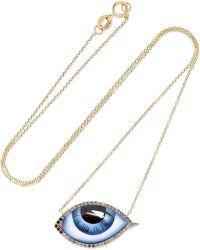 Lito - Tu Es Partout 14-karat Gold, Enamel, Diamond And Sapphire Necklace - Lyst
