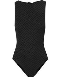 Eres Flanelle Open-back Seersucker Swimsuit - Black
