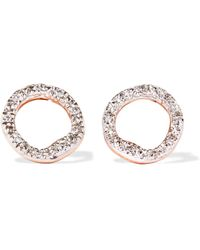 Monica Vinader - Riva Circle Rose Gold Vermeil Diamond Earrings Rose Gold One Size - Lyst