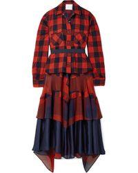 Sacai - Layered Chiffon And Satin-paneled Cotton-twill Midi Dress - Lyst