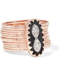 Pascale Monvoisin | Bowie N°1 9-karat Rose Gold, Bakelite And Diamond Ring | Lyst