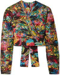 Sid Neigum Reversible Cropped Fil Coupé Wrap Top - Metallic