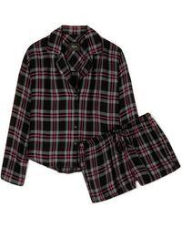 Rails Checked Flannel Pajama Set - Black