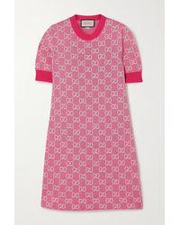 Gucci Minikleid GG aus Baumwolle und Wolle - Pink