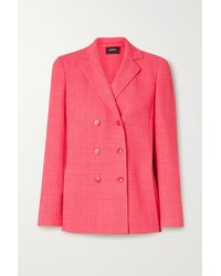Akris Double-breasted Checked Wool-blend Blazer - Pink