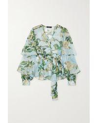 PATBO Ruffled Floral-print Crepon Blouse - Green