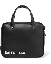 Balenciaga - Triangle Square Xs Printed Textured-leather Tote - Lyst