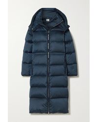 Tory Sport Hooded Quilted Shell Down Coat - Blue