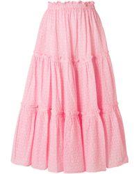 Lisa Marie Fernandez - Ruffled Broderie Anglaise Cotton Midi Skirt - Lyst
