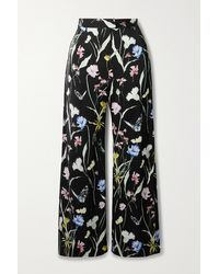 Jason Wu Floral-print Matte-satin Straight-leg Trousers - Black