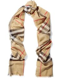 Burberry Checked Wool And Silk-blend Scarf - Multicolour