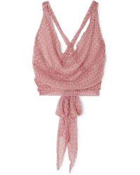 Cloe Cassandro Santi Cropped Printed Silk-crepon Wrap Top - Pink