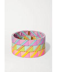 Roxanne Assoulin Delicate Neon Set Of Three Enamel Bracelets - Pink