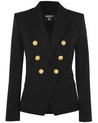 Balmain Double-breasted Wool-twill Blazer - Black