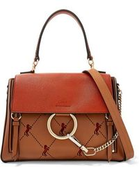 Chloé - Faye Day Small Perforated Color-block Leather And Suede Shoulder Bag - Lyst