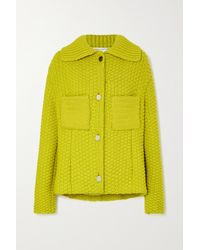 Bottega Veneta Waffle-knit Wool-blend Jacket - Yellow