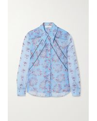 Chloé Floral-print Silk-georgette Shirt - Blue