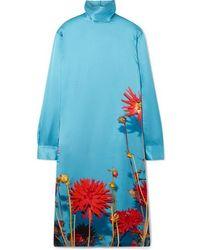 Dries Van Noten Dontisy Kleid Aus Satin Mit Blumenprint - Blau