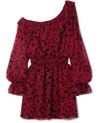 Saint Laurent - One-shoulder Floral-print Silk-georgette Mini Dress - Lyst