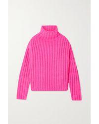 RED Valentino Rollkragenpullover Aus Einer Woll-mohairmischung In Rippstrick - Pink
