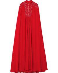 Elie Saab - Cape-effect Embellished Silk-blend Crepe De Chine Gown - Lyst
