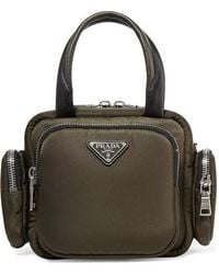 Prada Leather-trimmed Shell Tote - Green