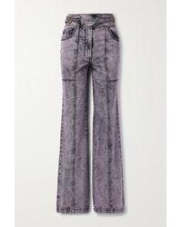 Ulla Johnson Albie Belted Acid-wash High-rise Wide-leg Jeans - Purple