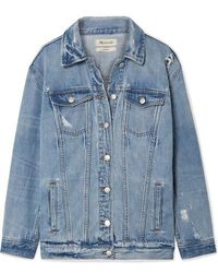 Madewell Oversized Distressed Denim Jacket - Blue