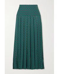 Cefinn - Sienna Pleated Printed Crepe De Chine Midi Skirt - Lyst