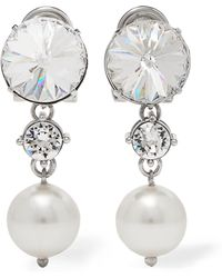 Miu Miu - Silver-tone, Crystal And Faux Pearl Clip Earrings Silver One Size - Lyst