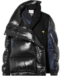 Sacai - Oversized Wool-paneled Quilted Shell Down Coat - Lyst